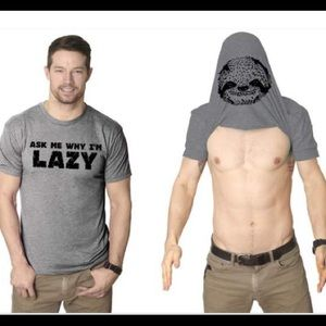 """Other - """"ASK ME WHY I'M LAZY"""" SLOTH FLIP MEN'S TSHIRT"""